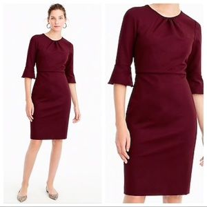 J Crew bell-sleeve sheath dress ponte knit maroon